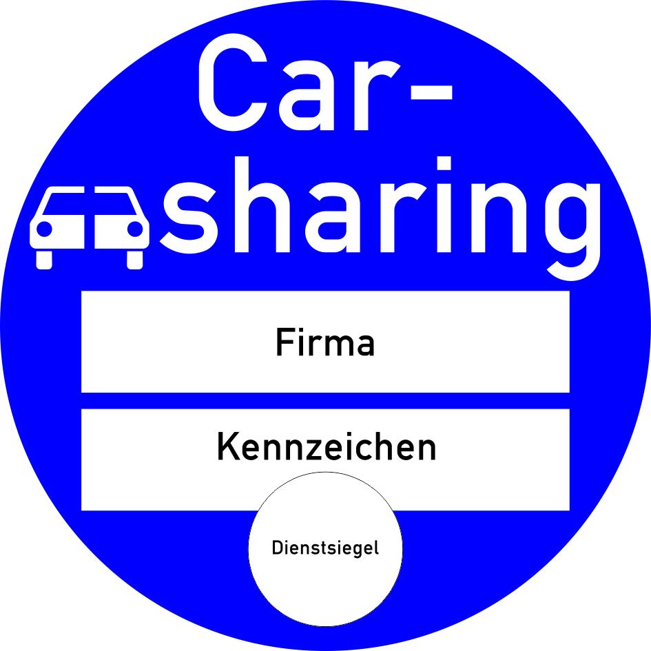 """Blaues Verkehrszeichen mit der Aufschrift """"Carsharing"""" (neuer Bußgeldkatalog 2020)."""