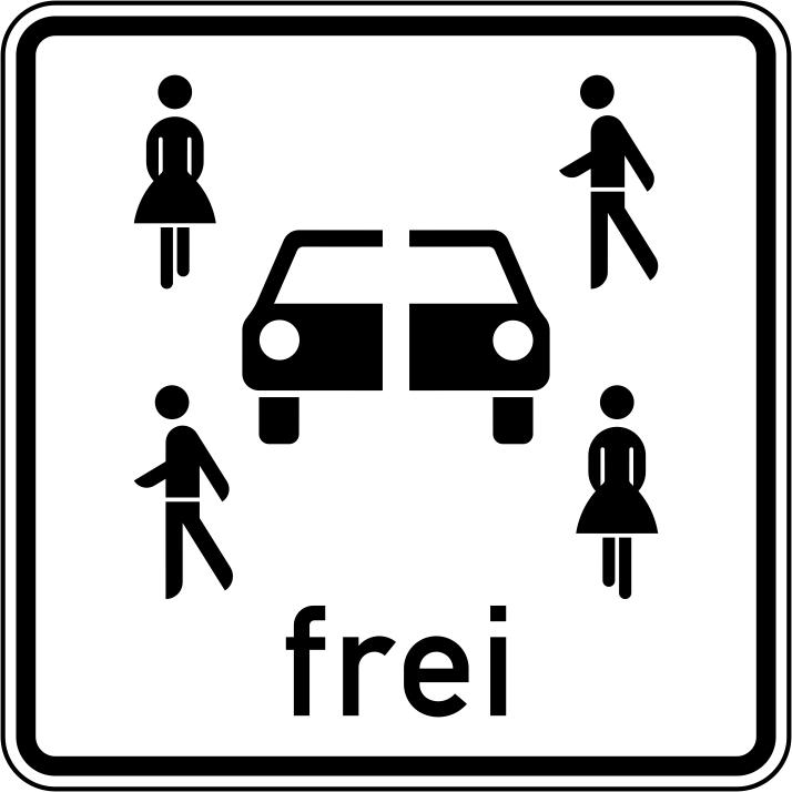 Verkehrszeichen mit einem weißen Hintergrund. Mittig ein Auto, drumherum verschiedene Menschen.