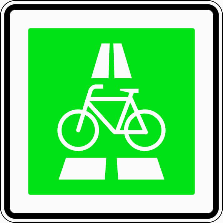 Grünes Verkehrsschild mit einem Fahrrad (Neuer Bußgeldkatalog 2020)